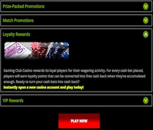 Loyalty Rewards – Gaming Club Casino photo