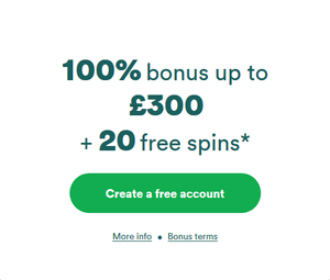 Casumo Casino Welcome Bonus – 100% up to £300 and 20 Free Spins photo
