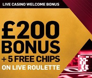 50% up to £200 + 5 Free Chips on Live Roulette photo
