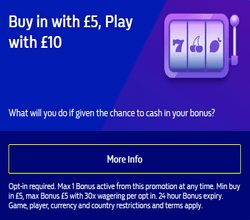 Buy in with £5, Play with £10 at William Hill Vegas Casino photo