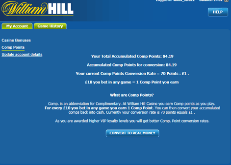comp points william hill where to see